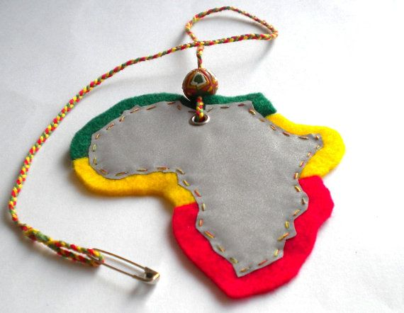Reflective Africa continent pendant, Africa map, Ethiopian colors, rastafari colors, reggae accessories, rasta stuff,  rastafari style, soft safety reflector, rasta colors, Ghana Krobo glass bead, handpainted bead accessories, reggae bag charm, rasta accessories, rasta clothing, reggae design, jamaica wear, dancehall safety, dancehall design, Mary Jane accessories, by MultiKultiCrafts, €12.00