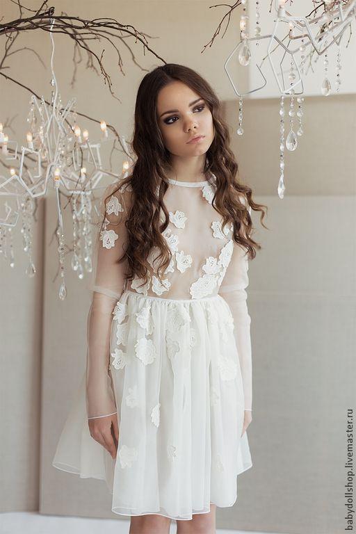 Купить Платье SS15 - белый, платье, короткое платье, юбка пышная, платье из органзы