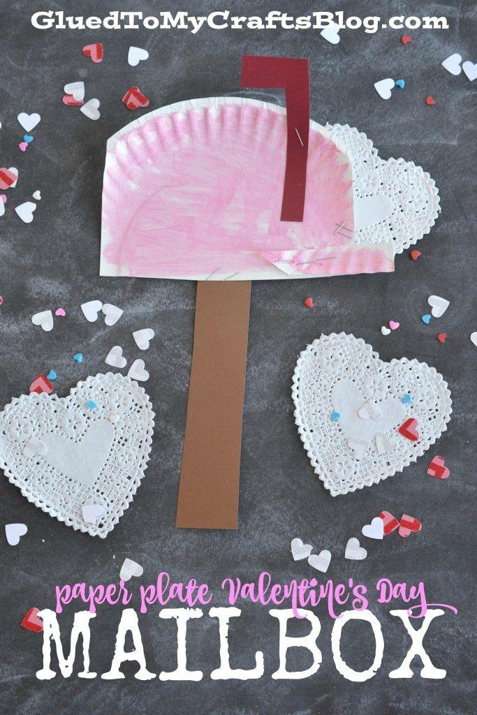 paper plate valentineus day mailbox kid craft