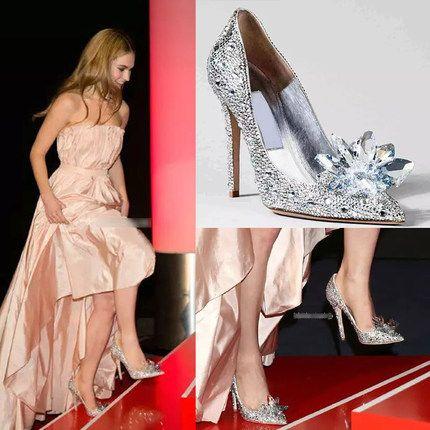 JC каблуки тонкие с острыми обувь женская Золушка хрустальная туфелька свадебные туфли алмаз белые свадебные туфли осенние туфли -tmall.com Lynx