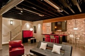 Bar Attic Idea With Grey Bsofa And Redsofa, White Small Pillow