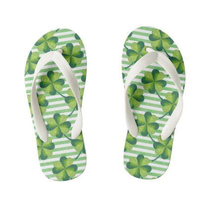 #customize - #Four Leaves Clover St. Patrick's Day Pattern Kid's Flip Flops