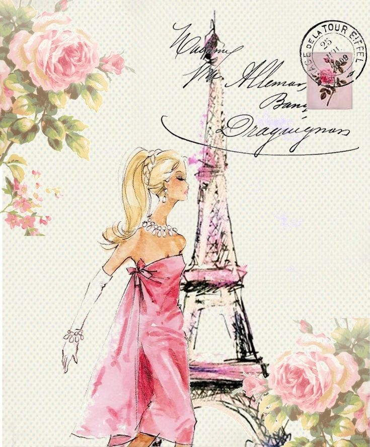 Pink Dress in Paris Fashion Illustration Postcard