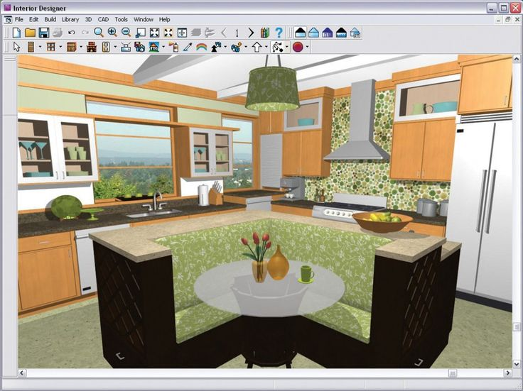Architecture Interior Designer Software Of 3d Kitchen Design With Kitchen Booth And Round Glass Dining Table