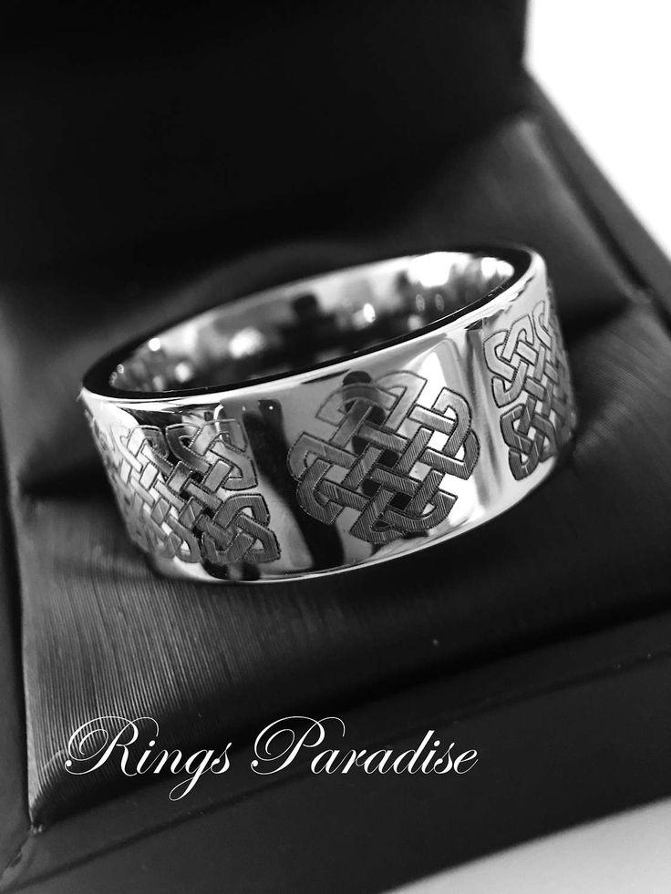 12mm Celtic Wedding Band, Love Knot Ring, Mens Women Scottish Ring, Men Celtic Ring, Authentic Celtic Ring, Tungsten Celtic Wedding Band Set by RingsParadise on Etsy