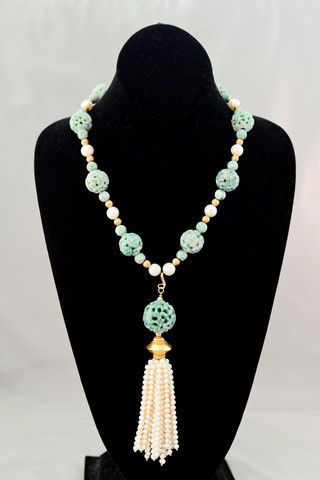 Carved Green Jade Necklace with a Pearl Tassel
