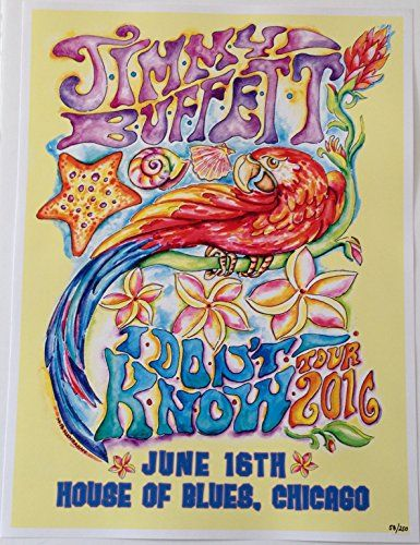 This listing is for a authentic Jimmy Buffett and the Coral Reefer Band concert poster for their show at the House of Blues in Chicago on June 6, 2016. This was a rare small venue show for Jimmy Buffett on his 2016 I Don't Know tour. This limited edition poster is numbered 67 of 250.