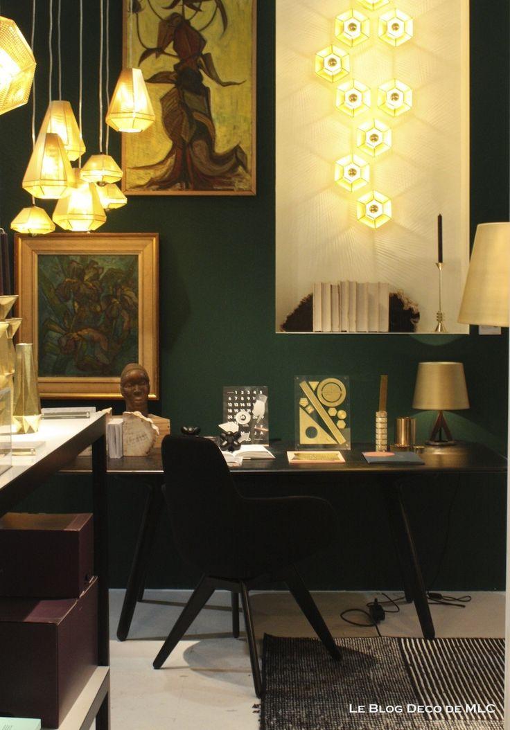 mur vert meraude bureau le blog deco de couleur d co pinterest blog et d co. Black Bedroom Furniture Sets. Home Design Ideas