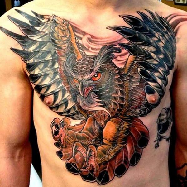 owl tattoo chest