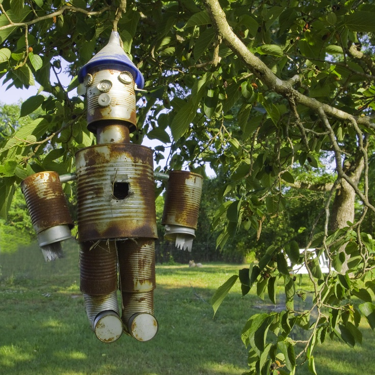 Tin man blue bird house made of old cans outdoors stuff for Creative birdhouses
