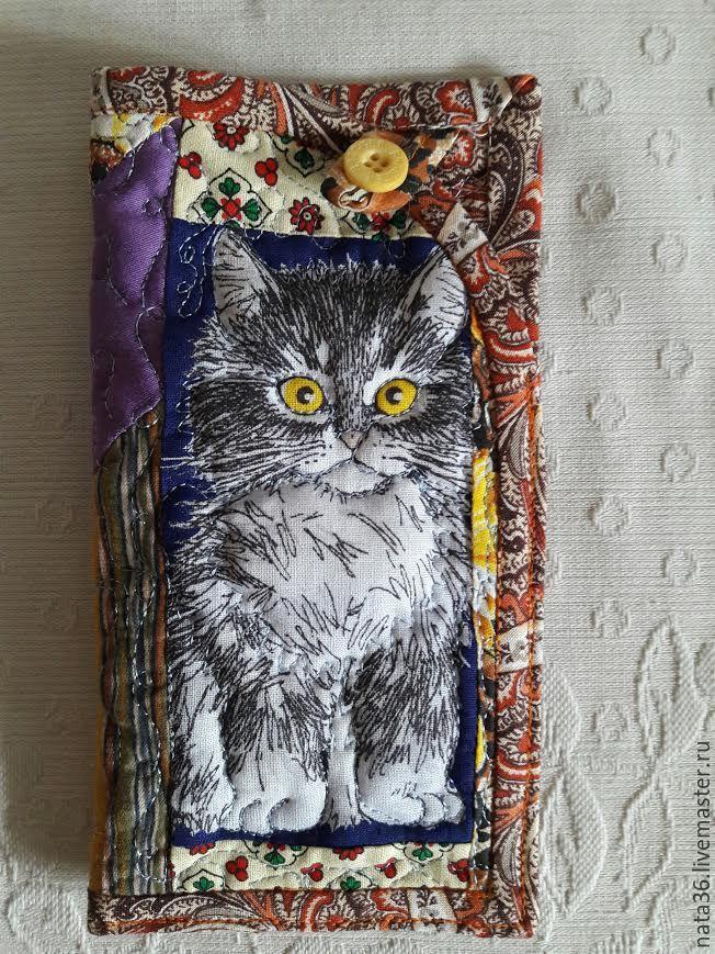 Купить Лоскутные, стеганые чехольчики для очков, телефонов.. - комбинированный, рисунок, чехольчик с котиком, любителям кошек