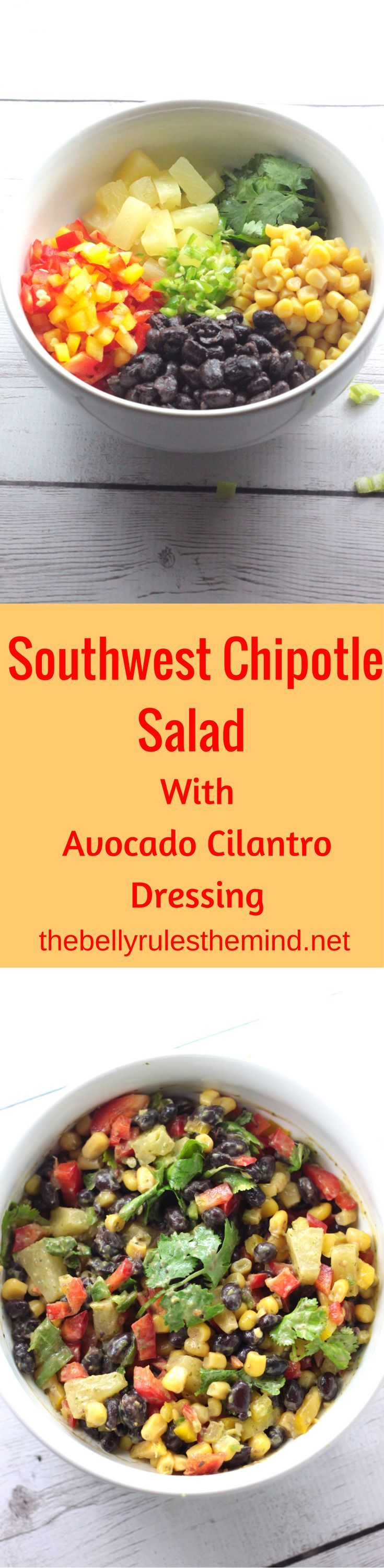 This Tex Mex Salad recipe with the yummy avocado cilantro dressing is a must try. One of the yummiest salad bowls ever. Much better than a store bough salad and is loaded with protein and fiber.|www.thebellyrulesthemind @Bellyrulesdmind