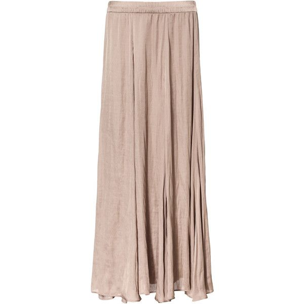 Zara Long Flowy Skirt (3.100 ISK) ❤ liked on Polyvore featuring skirts, bottoms, saias, maxi skirts, nude, zara maxi skirt, long brown skirt, long floor length skirts, long skirts and floor length skirt
