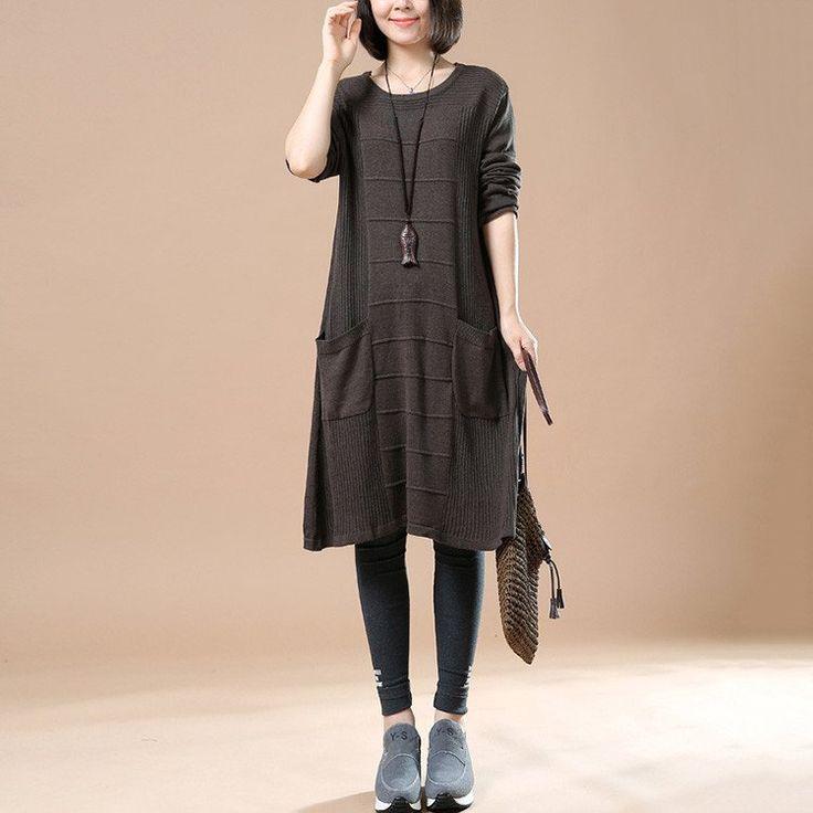 Women's Autumn Long Sleeve Round Neck Loose Sweater Dark Brown Dress