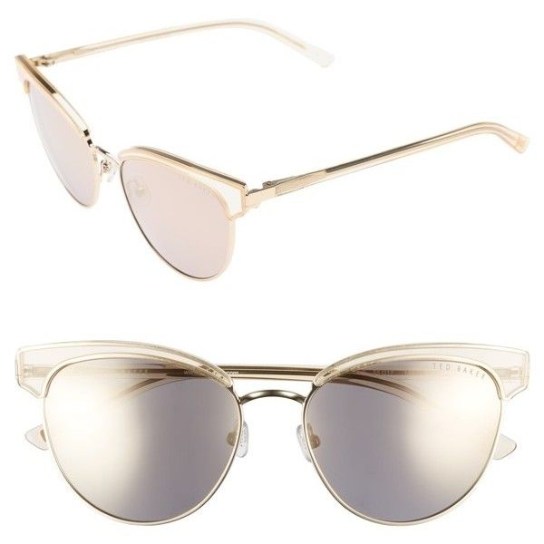 Women's Ted Baker London 55Mm Mirrored Semi Rimless Cat Eye Sunglasses (230 CAD) ❤ liked on Polyvore featuring accessories, eyewear, sunglasses, gold, mirror sunglasses, cateye sunglasses, ted baker sunglasses, semi rimless cat eye glasses and cat eye mirrored sunglasses