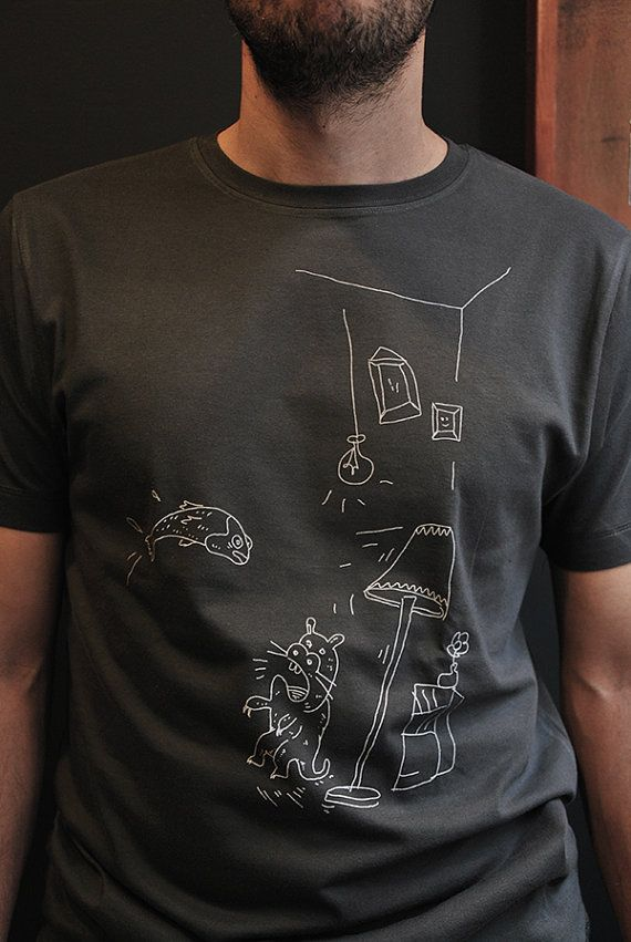 Sitting room surrealismo,  Mens t shirt, hand drawn design, hand silkscreen printed in our small studio in Athens.