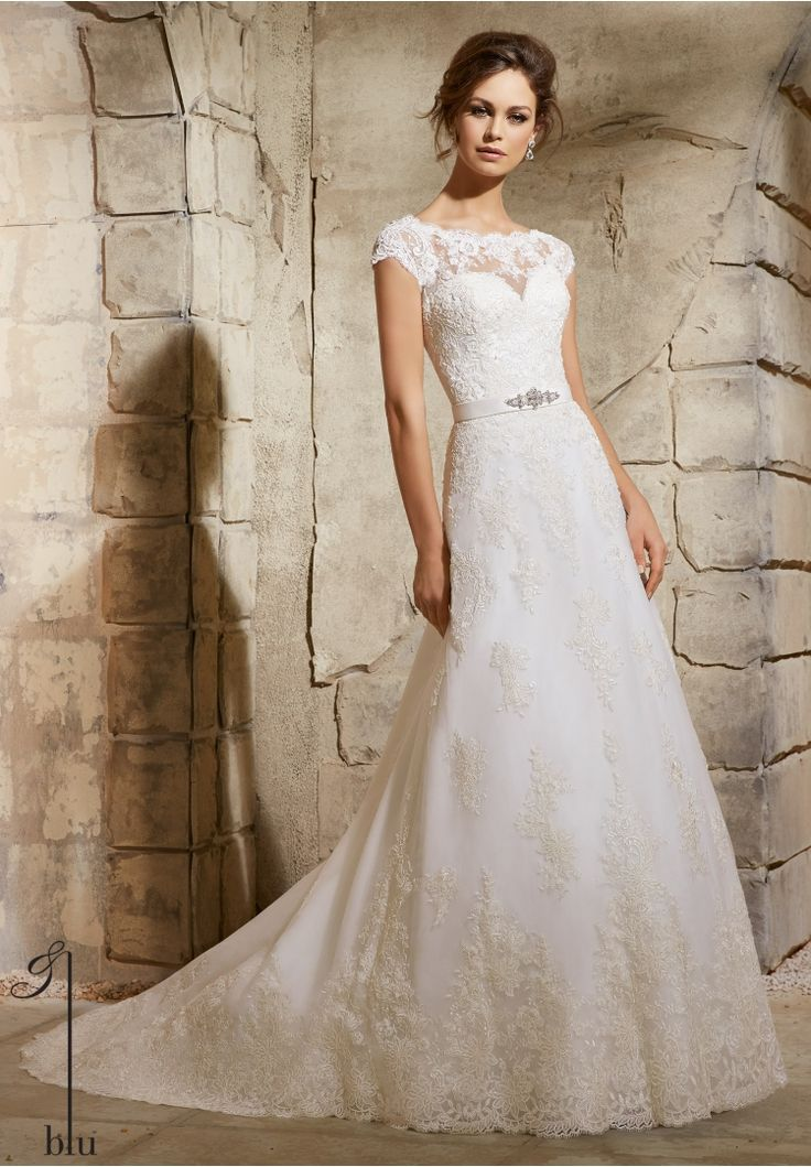 low cost wedding dresses in atlantga%0A Wedding Gowns By Blu featuring Embroidered Lace Appliques on Net with Wide  Border Hemline Timeless and