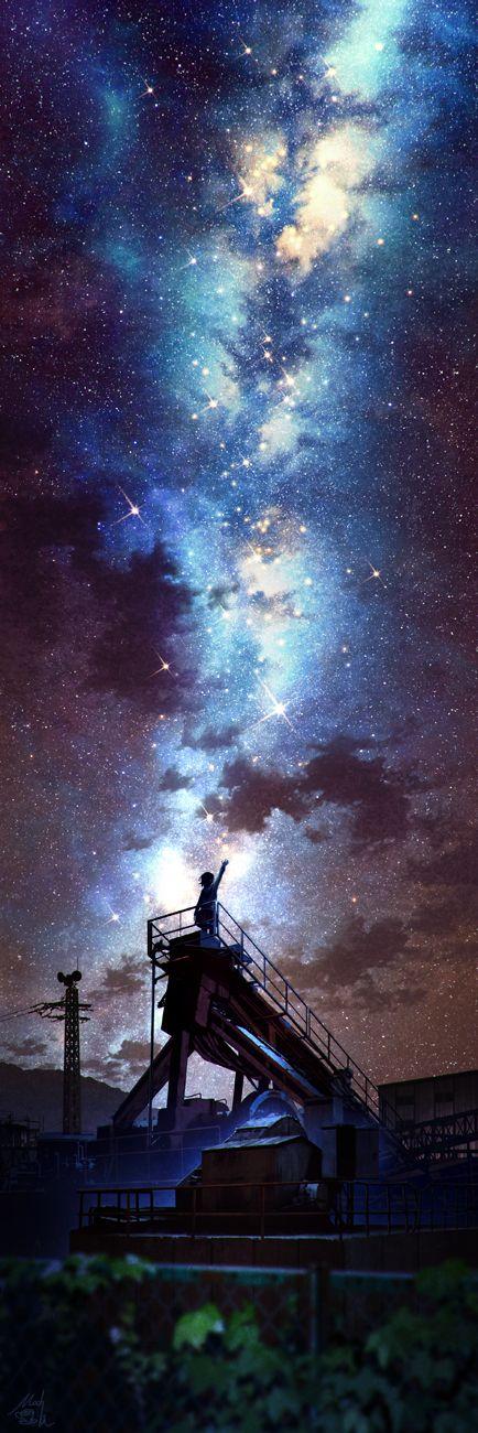 Anime, Galaxy, illustration