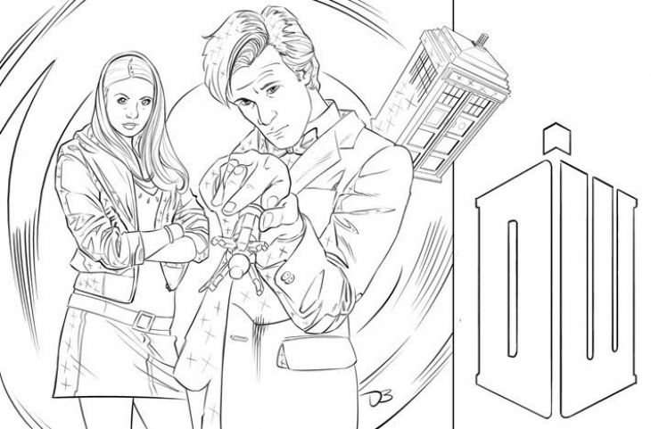 Doctor Who Man And Woman Coloring Page To Print Online
