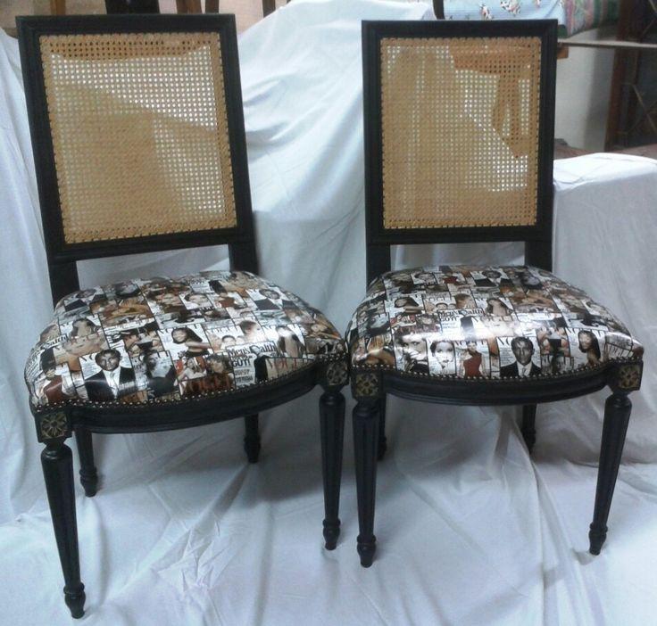 Chaises allure tendance chic. Assise design fashion Prix : 350€ les 2 Par Les meubles de Cathy 0624250212 www.les-meubles-de-cathy.fr