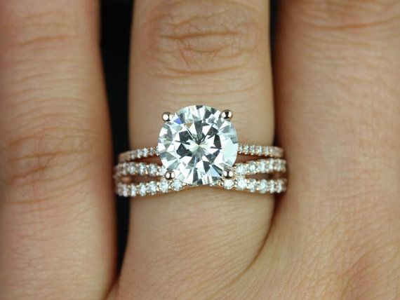 Eloise 9mm & Lima 14kt Rose Gold Round FB Moissanite and Diamonds Cathedral Wedding Set (Other metals and stone options available)
