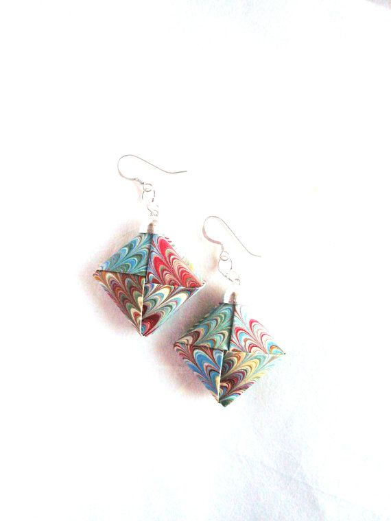 Marbled Paper Earrings Paper  Origami Jewelry by Manufactapaper