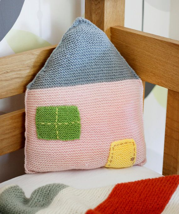Knitted House Pillow, by Lalaka on etsy.