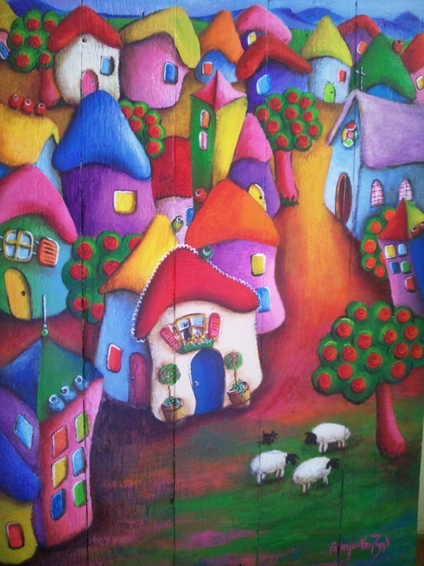 Peaceful little town - on wood - artist - Valencia Van Zyl