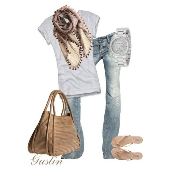 Love it.  I need some new boot cut jeans for spring/summer.Feathers Earrings, Weekend Outfit, Casual Outfit, Fashion Style, Fashionista Trends, Comfy Casual, Flip Flops, Casual Looks, Fade Jeans