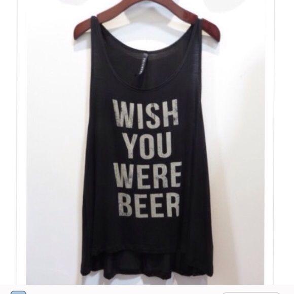 Wish you were beer tank top Medium Tops Tank Tops