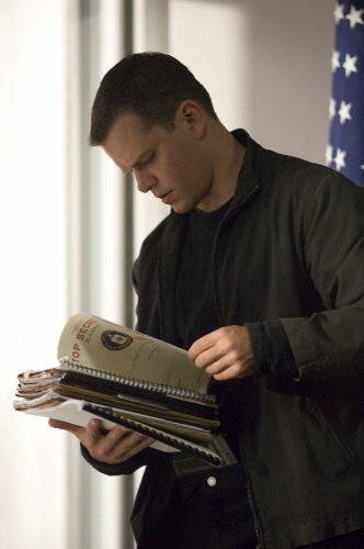 The Bourne Ultimatum--Jason Bourne going through some CIA files.