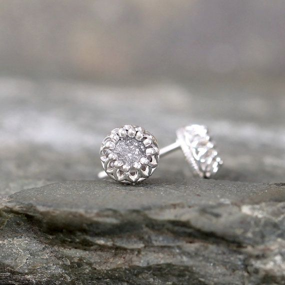 Raw Diamond Earrings  Sterling Silver Crown Setting by ASecondTime