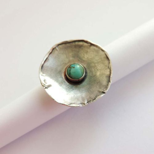 Silver ringturquoise stonebig ringoxidized silverround by Kaziar