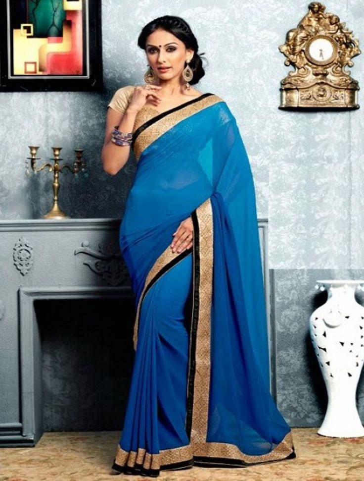 Azure Blue Faux Georgette Fancy Pre-stitched Saree
