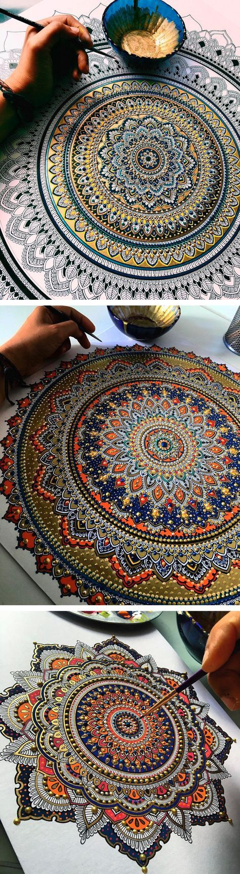 ❤⊰❁⊱ Mandala ⊰❁⊱ ~ Intricate Mandalas Gilded with Gold Leaf by Artist Asmahan A. Mosleh