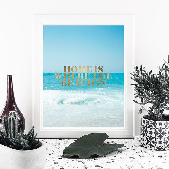 Art Photography Home is where the beach is Gold by MessProject  #instantdownload #digital #etsy #messproject