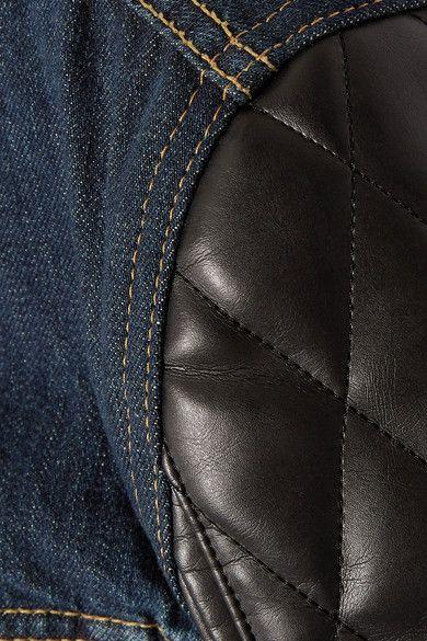 Junya Watanabe - Printed Denim And Faux Leather Jacket - Dark denim -