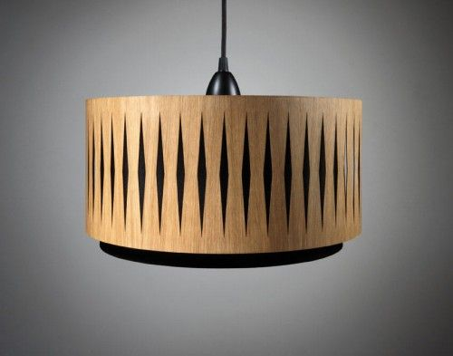 Handmade Laser Cut Wooden Lampshades from Min-jon, an Etsy shop. There is an inner shade of fabric and an outer shade of oak.