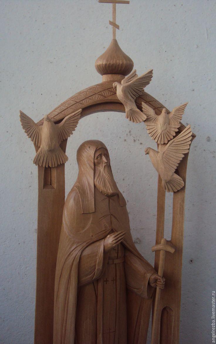 Купить преподобный Сергий Радонежский с птицами - ручная работа, резьба по дереву, Сергиев Посад