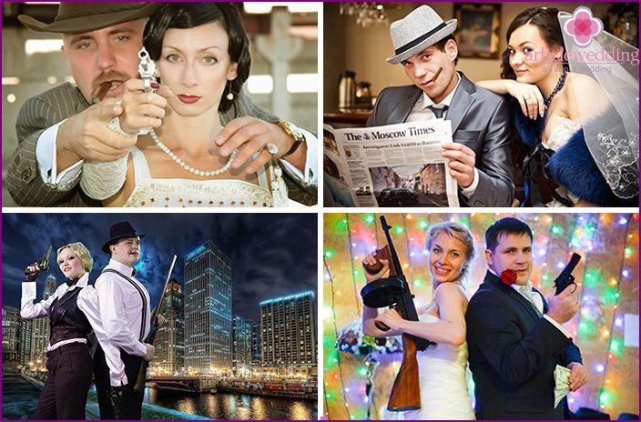 sesión de fotos de boda en un estilo gángster