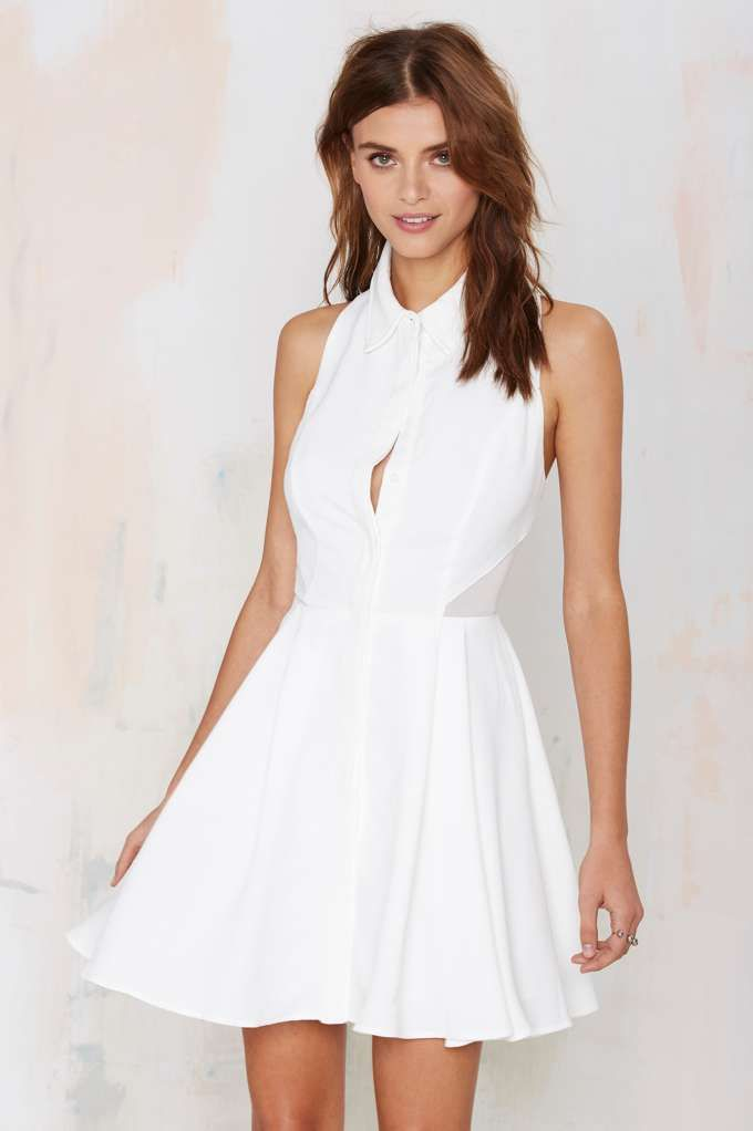 Nasty Gal Black Magic Woman Dress - Ivory - Fit-n-Flare | Going Out