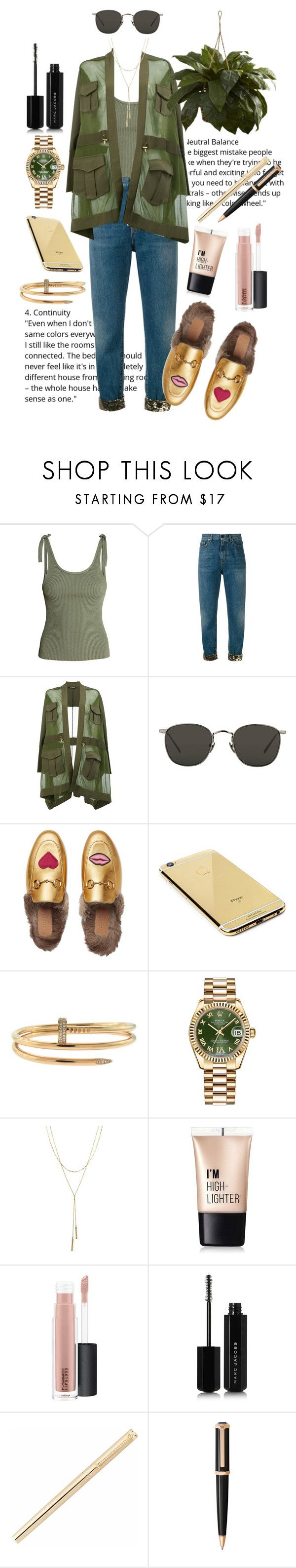 """""""When u're a big boss of f1"""" by alishaalisha ❤ liked on Polyvore featuring H&M, Yves Saint Laurent, Balmain, Linda Farrow, Gucci, Goldgenie, Cartier, Rolex, Bloomingdale's and Charlotte Russe"""
