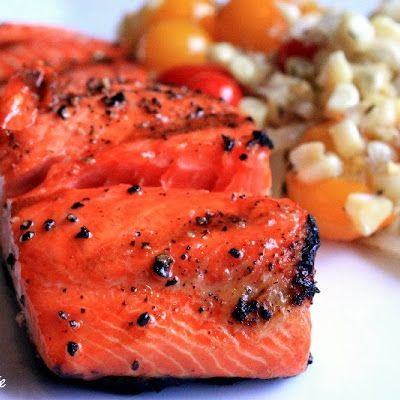 Maple-Bourbon Basted Grilled Salmon @keyingredient #recipes