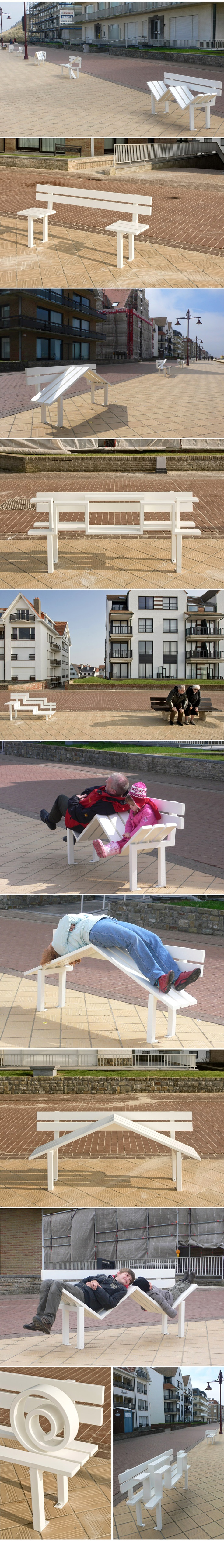 Jeppe Hein: Modified Social Benches—Danish artist Jeppe Hein has installed a series of modified benches which invite the seaside residents of the town of De Haan in Belgium to enter into an interaction which questions the nature of social behaviour in urban spaces. The bench designs borrow their basic form from normal park benches, but are altered in various degrees to make the act of sitting on them a conscious physical endeavour.