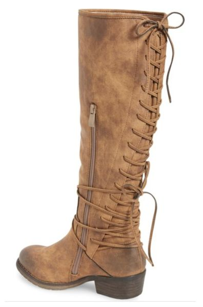 "True to size. Tall knee-high shaft Left to right : brown, taupe, tan Western-inspired boot with a low stacked heel and a grippy lug sole. 1 1/2"" heel (size 8.5)"