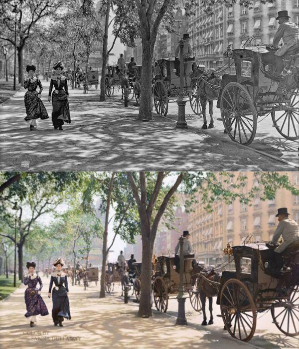 Históricas fotos en blanco y negro convertidas a color - El Madison Square Garden