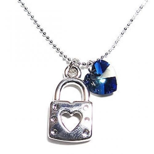 `Lock-My-Heart` December Birthstone Necklace - Lapis (Swarovski Crystal)     Silver - One Size