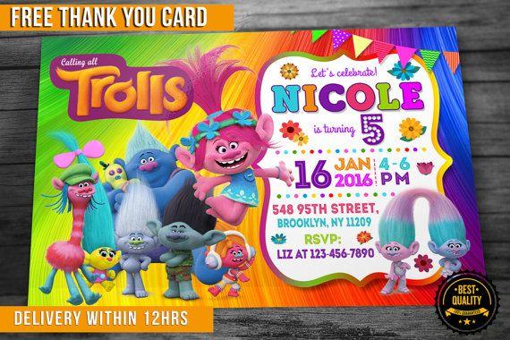 Trol de invitación de cumpleaños con agradecimiento por EInvites