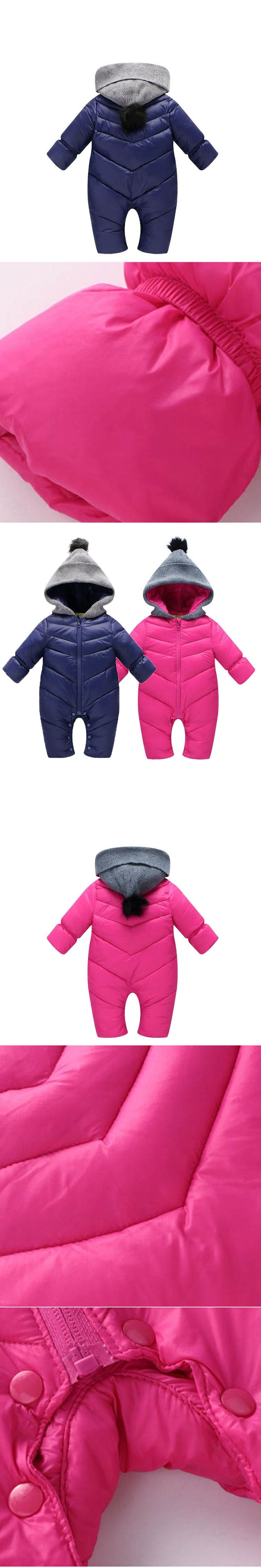 2017 Winter Baby Thick Warm Rompers Pink Coverall Hooded Romper Jumpsuit Baby Girl Boy Snowsuit Coat