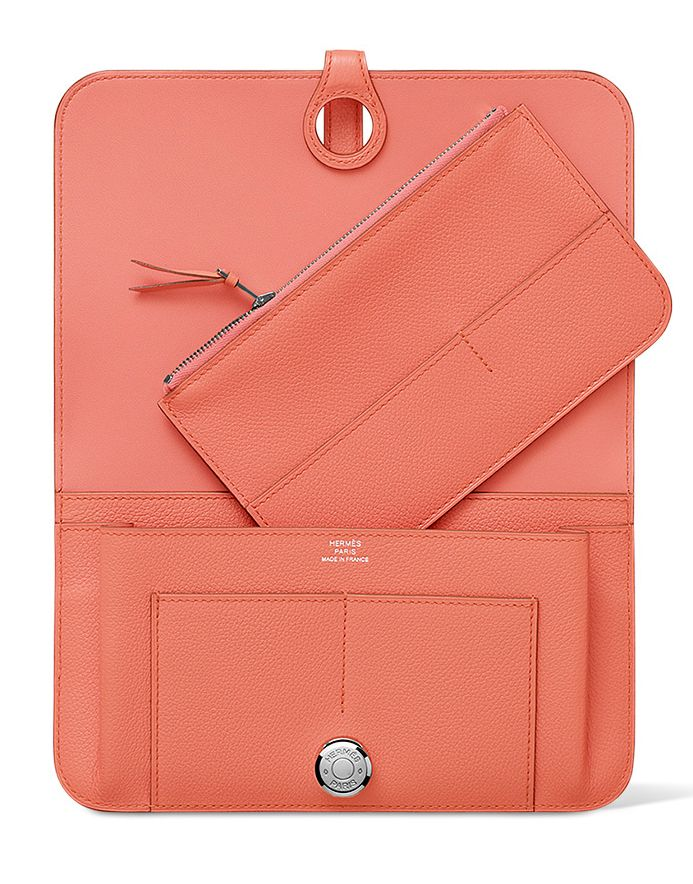 Hermes - Dogon Wallet/Purse in Flamingo Pink Evercolour Calfskin Leather. Inside Open View.